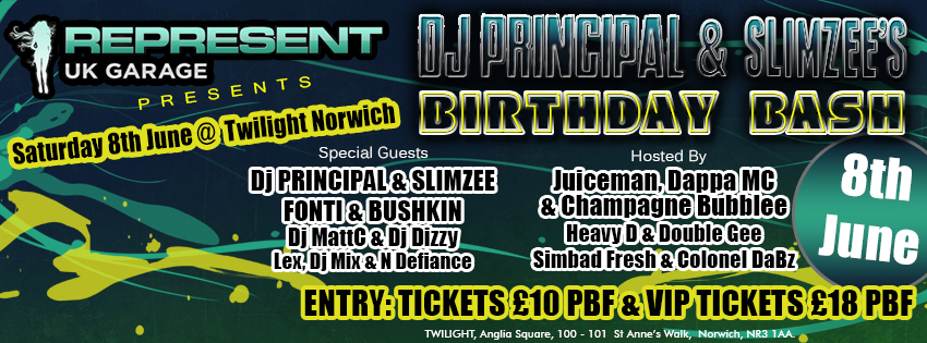 Represents presents Sidewinder Birthday Bash